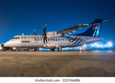 BUCHAREST / ROMANIA - DECEMBER 2018 Tarom ATR 72-500, YR-ATC, cn 589, wearing Skyteam colours. During overnight parking.