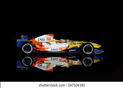 BUCHAREST, ROMANIA - DECEMBER 27: Collectible toy model, Renault F1 Team 2007 on black background, December 27, 2014, in Bucharest, Romania