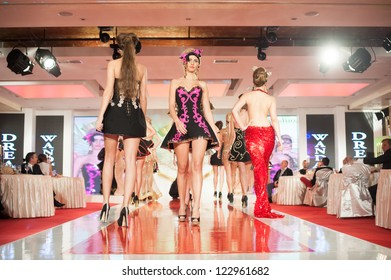 BUCHAREST, ROMANIA - DECEMBER 3: Fashion model wears clothes made by Walid Atallah in Bucharest Fashion Week on December 3, 2012, Bucharest, Romania