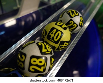 BUCHAREST, ROMANIA - December 30, 2015: Image of lottery balls during extraction of the winning numbers before the New Year.