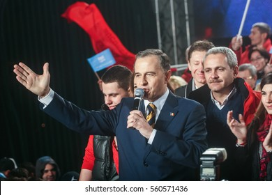 Bucharest Romania, December 6, 2009: The former Foreign Minister Mircea Geoana reacts after the first exit polls of presidential elections in Romania.
