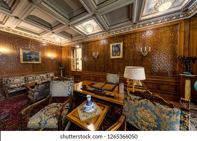 BUCHAREST, ROMANIA - DECEMBER 7, 2018: The Ceausescu Mansion is seen from inside on December 7, 2018 in Bucharest, Romania.