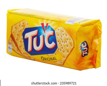 BUCHAREST, ROMANIA - DECEMBER 8, 2014. Tuc Original Snack Crackers isolated on white. TUC is a brand of snack biscuit marketed by Mondelez International