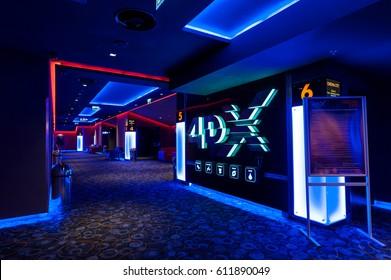 BUCHAREST ROMANIA - Feb 10 2017 4DX Cinema lounge at the Mega Mall shopping center in Bucharest , Romania