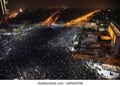 Bucharest, Romania - February 01, 2017:  One hundred fifty thousand people protest in front of Romanian Government against the new more permissive laws for corruption.