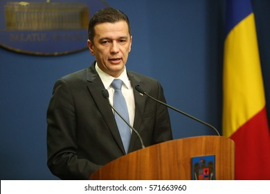BUCHAREST, ROMANIA - February 04, 2017: Romanian Prime Minister Sorin Grindeanu declares in a press conference that the controversial graft decree will be abrogated.