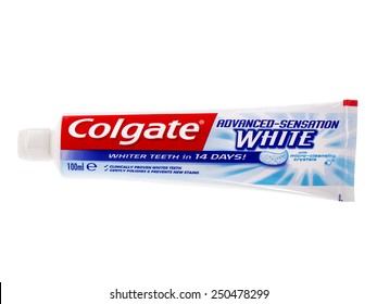 BUCHAREST, ROMANIA FEBRUARY 06, 2015. Tube of Colgate Toothpaste, Advanced Sensation White, isolated on white. Colgate is a brand of toothpaste produced by Colgate-Palmolive.