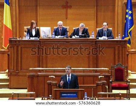 Bucharest, Romania -  February 07, 2017: Romania's President Klaus Iohannis addresses the Romanian Parliament, in Bucharest, Romania.