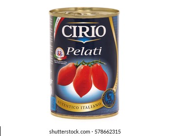 BUCHAREST, ROMANIA - FEBRUARY 14, 2017. Can of Cirio Pelati, peeled plum tomatoes. Cirio Pelati are made from San Marzano variety of tomatoes, known for naturally sweet taste and wonderful flavor.