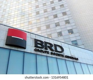 BUCHAREST, ROMANIA - FEBRUARY 15, 2019: Headquarters of BRD - Groupe Societe Generale, one of the top banks in Romania.