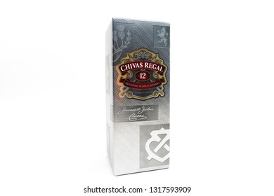 Bucharest, Romania: February 19, 2019 - A box of a Chivas Regal on black background, 12 year old scotch whiskey