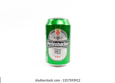 Bucharest, Romania: February 19, 2019 - Perlenbacher beer can isolated on white