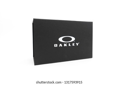 Bucharest, Romania: February 19, 2019 - box of Oakley,Oakley, Inc., founded in 1975, is a subsidiary of Italian company Luxottica. It designs, develops and manufactures sports performance equipment.