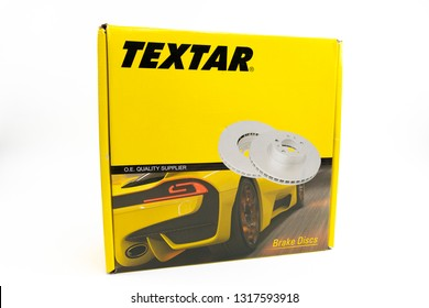 Bucharest, Romania: February 19, 2019 -Box of Textar brake disc the brand of the TMD Friction Group stands for high quality, optimum safety and highest braking comfort worldwide.