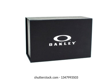 Bucharest, Romania: February 19, 2019 - Box of Oakley, Oakley Inc., founded in 1975, is a subsidiary of Italian company Luxottica. It designs, develops and manufactures sports performance equipment.