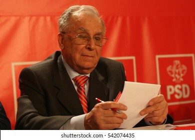 BUCHAREST, ROMANIA - February 20, 2010: Former Romanian President, Ion Iliescu speaks at the National Congress of Social Democrat Party.