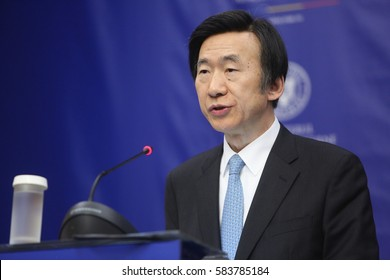 Bucharest Romania, February 20, 2017: Yun Byung-se, Ministry of Foreign Affairs of the Republic of Korea speaks at a press conference after meeting his Romanian counterpart.