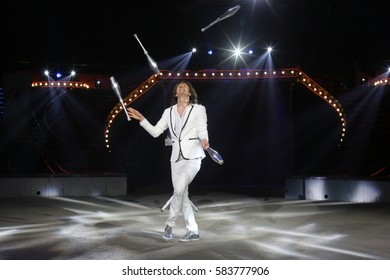 Bucharest Romania, February, 2017: VIKTOR KRACHINOV from Russia performs at the International Circus Festival hold in Bucharest, at Globus Circus.