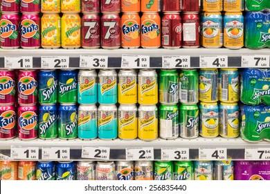 BUCHAREST, ROMANIA - FEBRUARY 22, 2015: Soda Drinks On Supermarket Stand.