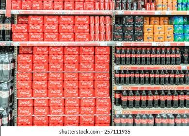 BUCHAREST, ROMANIA - FEBRUARY 25, 2015: Soda Drinks On Supermarket Stand.