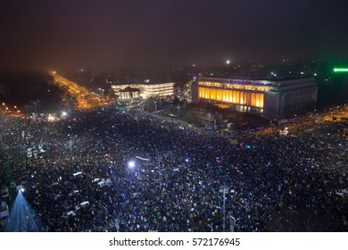 BUCHAREST, ROMANIA - FEBRUARY 5, 2017: 300 000 Romanians geared up for the biggest protests since 1989 Revolution. Mass rallies persist nationwide despite that government repeals corruption decree.