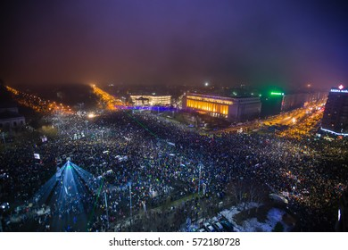 BUCHAREST, ROMANIA - FEBRUARY 5, 2017: 300 000 Romanians geared up for the biggest protests since 1989 Revolution. Mass rallies persist nationwide despite that government repeals corruption decree