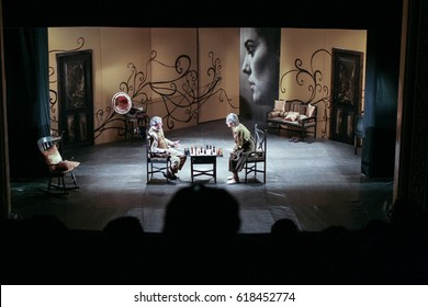 BUCHAREST, ROMANIA, February 6, 2008: Maia Morgenstern performs in a theatrical play at the Jewish Theater in Bucharest.