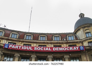 BUCHAREST, ROMANIA - FEBRUARY 6, 2013: The Romanian social democratic party office in Bucharest city, Romania