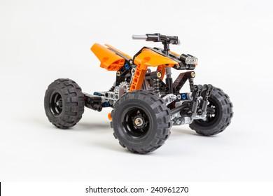 Bucharest, Romania - January 1, 2015: Lego technic ATV on white background.  Lego is a danish toy manufacturer.