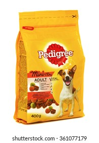 BUCHAREST, ROMANIA - JANUARY 10, 2016. Pedigree Adult Vital Mini, complete dry food for adult small dogs with beef and vegetables, free from artificial colorings and flavorings.