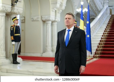 Bucharest, Romania - January 11, 2019: Romania's President Klaus Iohannis waits for European Commission President Jean-Claude Junker, at Cotroceni presidential palace in Bucharest.