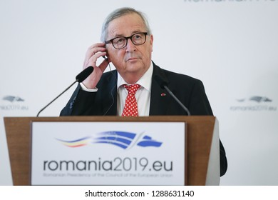 Bucharest, Romania - January 11, 2019: European Commission President Jean-Claude Juncker holds a press briefing together with Romania's Presiden), at Cotroceni presidential palace in Bucharest.
