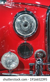 Bucharest, Romania - January 11, 2019: Detail of headlights of  classic Jaguar MK IX from 1959, presented at Tiriac Collection Museum.