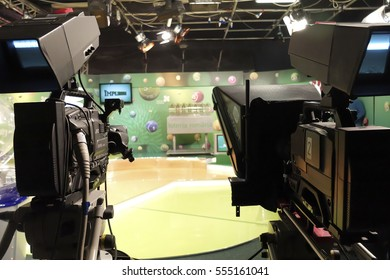 BUCHAREST, ROMANIA - January 12, 2017: TV studio for the extraction of the winning lotto numbers.