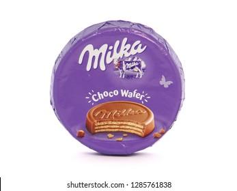 BUCHAREST, ROMANIA - JANUARY 12, 2019. Milka Choco Wafer, crispy wafers coated with alpine milk chocolate. Milka is a brand of chocolate confection owned by Mondelez International.