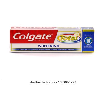 BUCHAREST, ROMANIA - JANUARY 12, 2019. Colgate Toothpaste, Total Whitening, isolated on white. Colgate is a brand of toothpaste produced by Colgate-Palmolive.