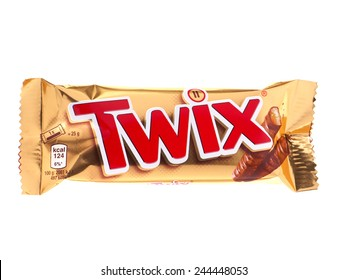 BUCHAREST, ROMANIA JANUARY 15, 2015. Twix wrapper isolated on white. Twix is a chocolate bar made by Mars, Inc., consisting of biscuit applied with caramel and milk chocolate.