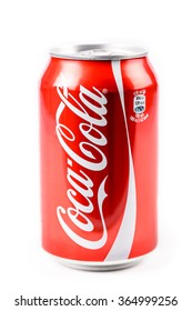 BUCHAREST, ROMANIA - JANUARY 16, 2016: Coca-Cola is a famous carbonated soft drink sold in stores, restaurants, and vending machines around the world.