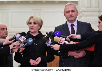 Bucharest, Romania - January 17, 2018: Vasilica Viorica Dancila (L), the new Prime Minister of Romania and Liviu Dragnea (R), speak in a press conference at the Chamber of Deputies in Bucharest.