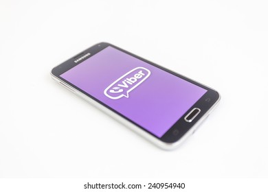 Bucharest, Romania - January 1st, 2015: Brand new black Samsung Galaxy S5 on white background. Viber is an instant messaging and Voice over IP app for smartphones developed by Viber Media.