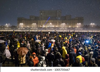 Bucharest, Romania - January 20, 2018: Thousand of Romanian around the country protest in Bucharest against governing coalition and its plans to change the rules of Justice.