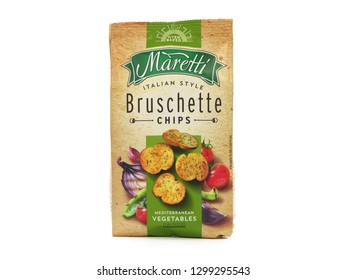 BUCHAREST, ROMANIA - JANUARY 21, 2019. Pack of Maretti Bruschette Chips with Mediterranean vegetables, produced by Ital Food SA.