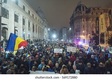 Bucharest, Romania - January 22, 2017: Almost 50.000 people protest in Bucharest city center against the government plan to pardon prisoners from jails.