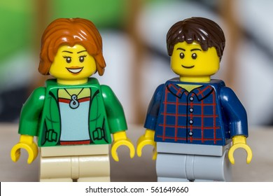 Bucharest, Romania - January 22nd 2017: A set of two lego mini characters with blurred background. Lego is a popular line of construction toys manufactured by the Lego Group.