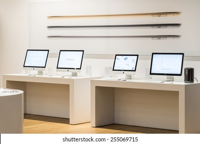 BUCHAREST, ROMANIA - JANUARY 23, 2015: Apple iMac Computers For Sale In Apple Store.