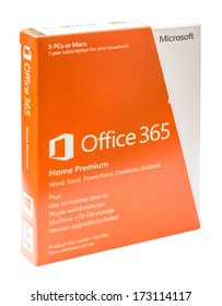BUCHAREST, ROMANIA - JANUARY 26, 2014: Microsoft Office 365 Retail Box On White Background. It is a subscription based online office and software plus services suite built around Microsoft Office.