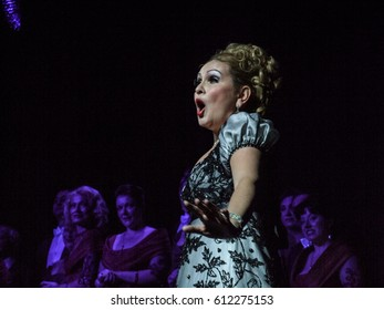 BUCHAREST, ROMANIA, January 27, 2008: Soprano  performs in a musical show on the stage of the Operetta Theater in Bucharest.