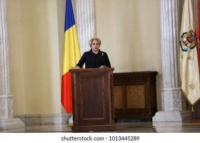 BUCHAREST, ROMANIA  - January 29, 2018: Romanian Prime Minister Viorica Dancila during a swearing-in ceremony at Cotroceni palace in Bucharest.