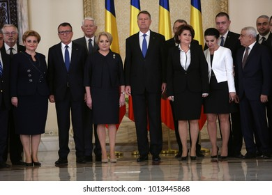 BUCHAREST, ROMANIA  - January 29, 2018: Romanian President Klaus Iohannis poses for photos with Romania's new Prime Minister Viorica Dancila and members of the new cabinet at the Cotroceni Pala