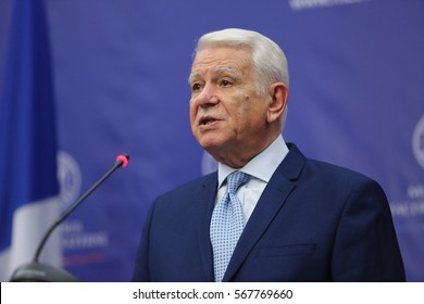 BUCHAREST, ROMANIA  - January 30, 2017: Teodor Viorel Melescanu, Romanian Minister of Foreign Affairs speaks at a press conference.